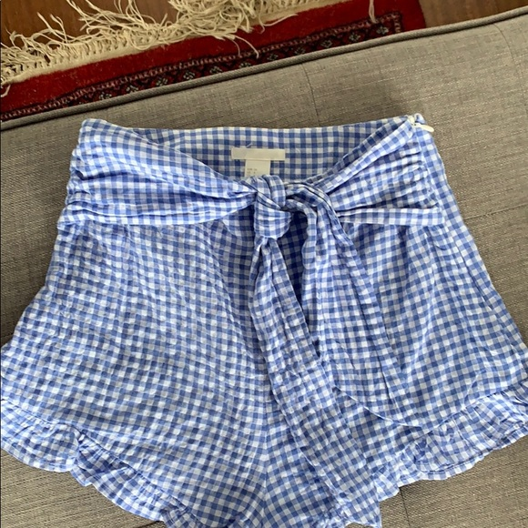 Blue Checkered Shorts Front Tie